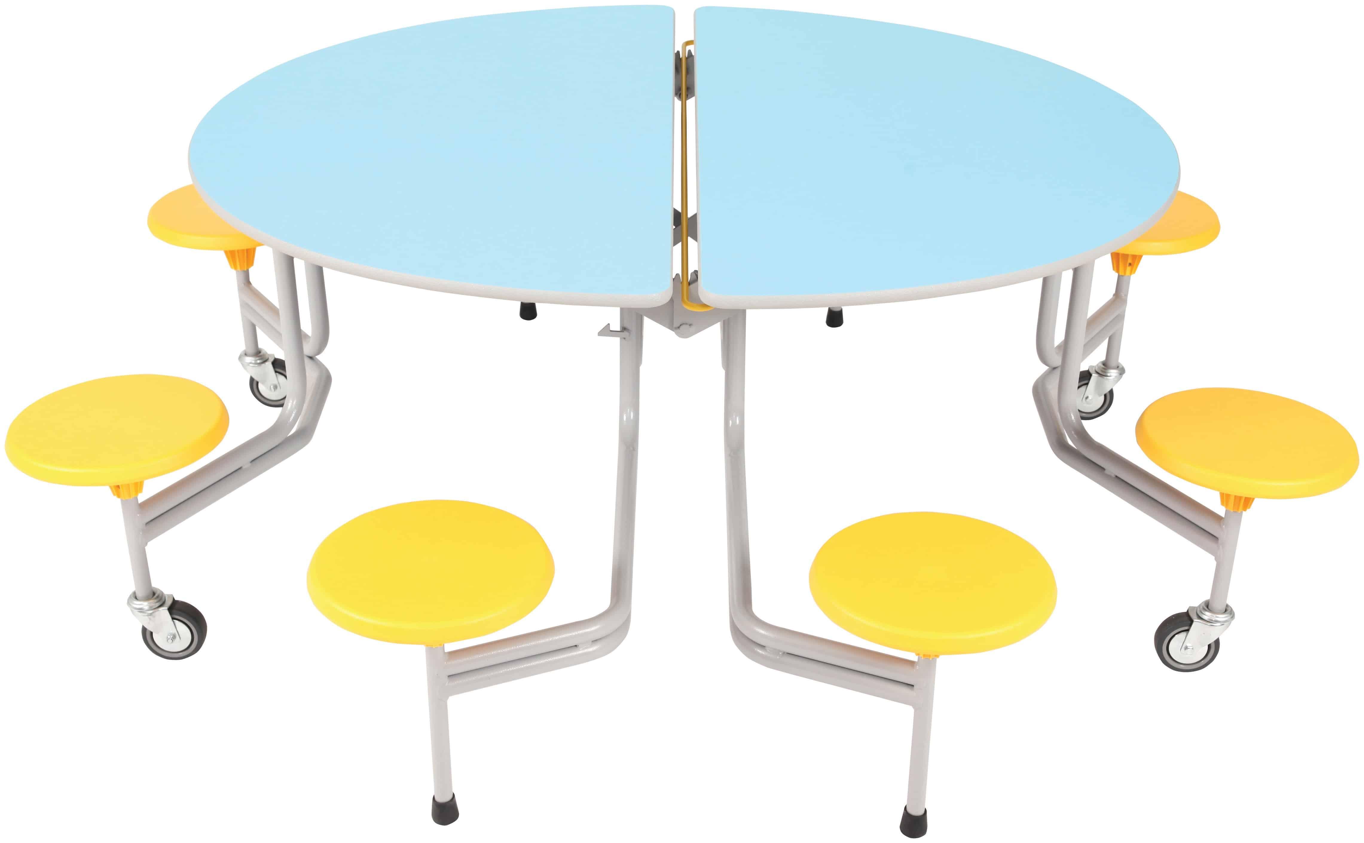 Mesa comedor ovalada plegable y m vil con asientos for Mesa plegable con asientos